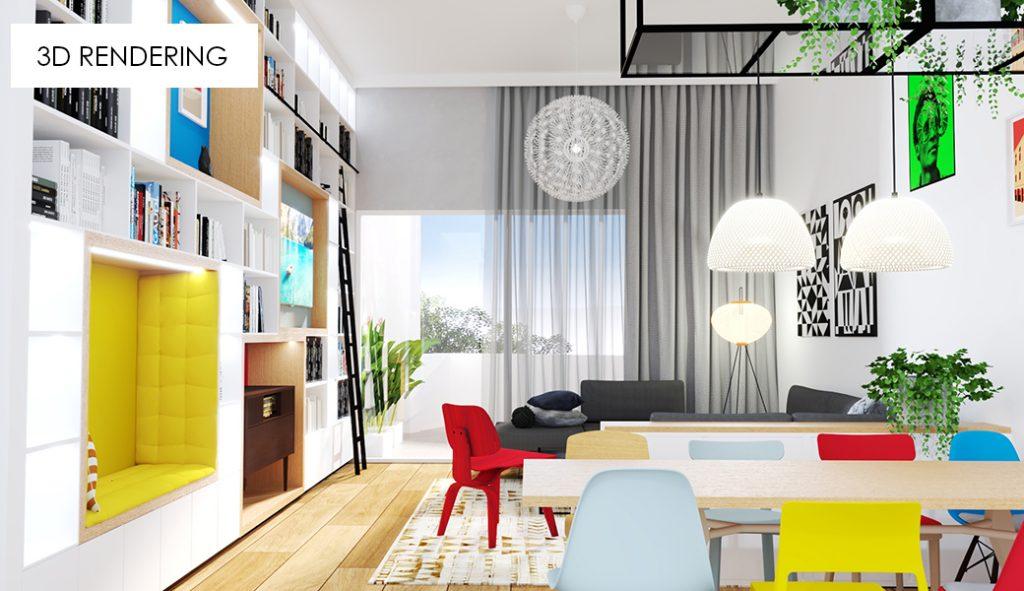 3D rendering image 3 living room