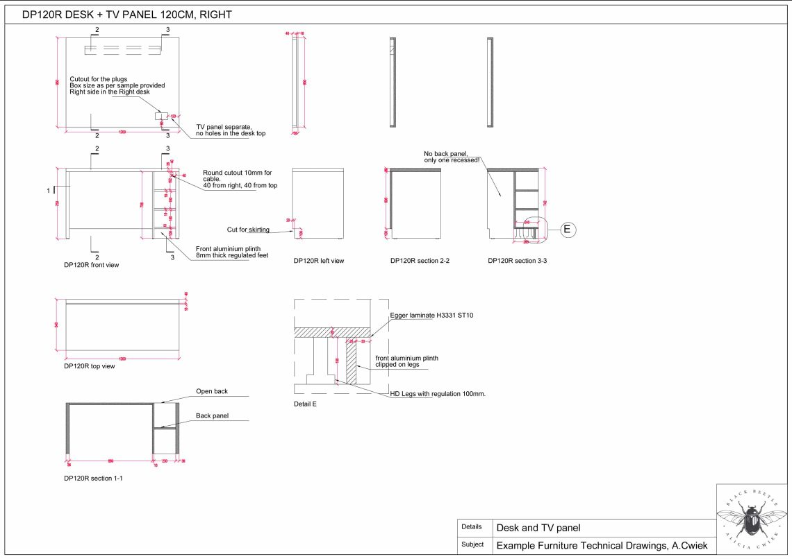Furniture technical drawings example hotel desk