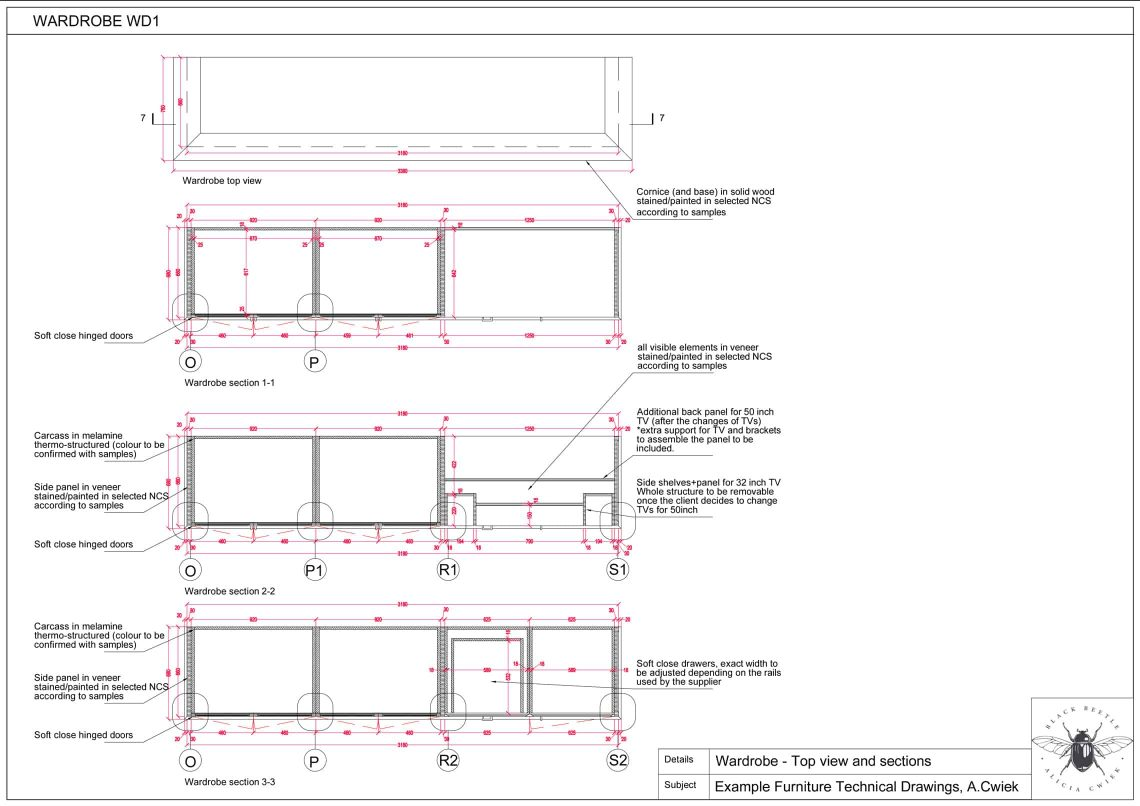 Furniture technical drawings example hotel wardrobe part2