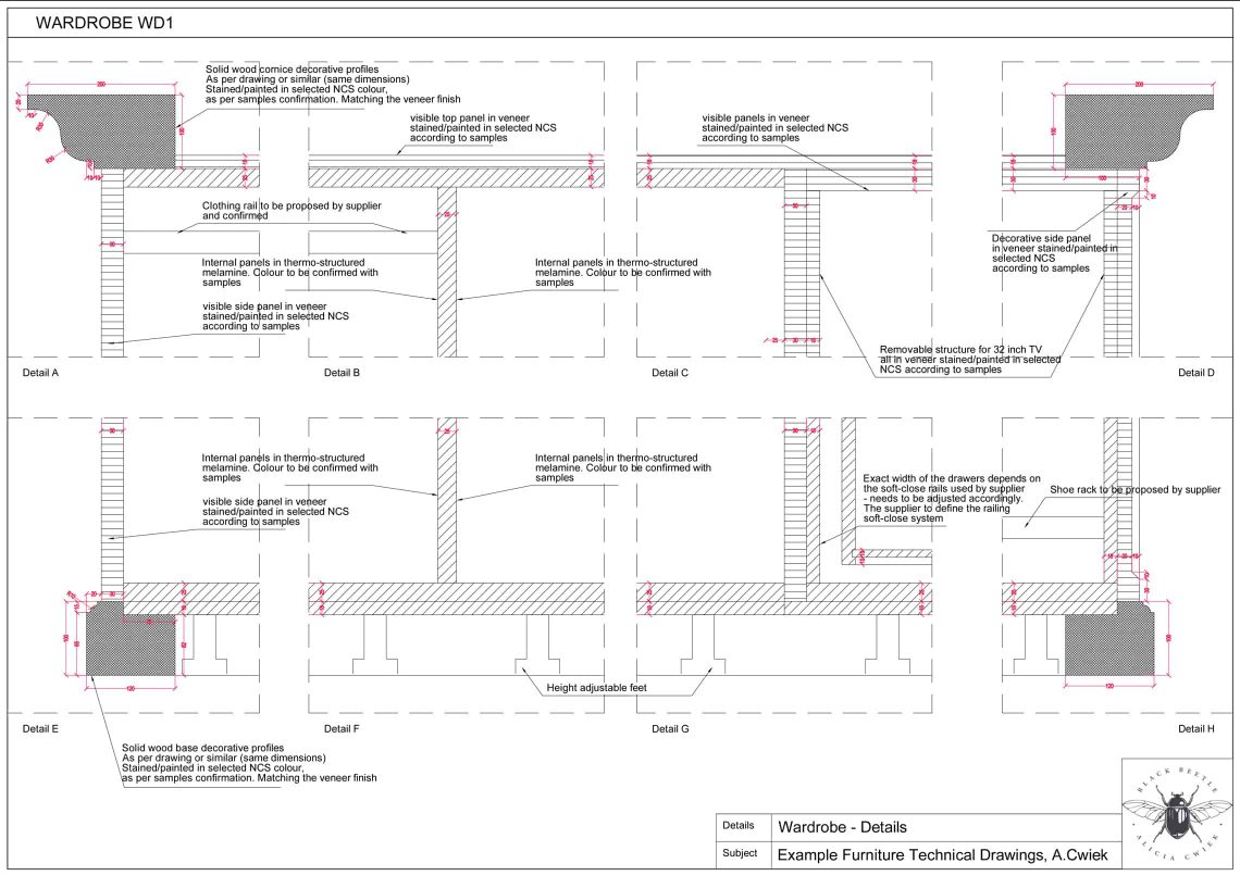 Furniture technical drawings example hotel wardrobe part4 details
