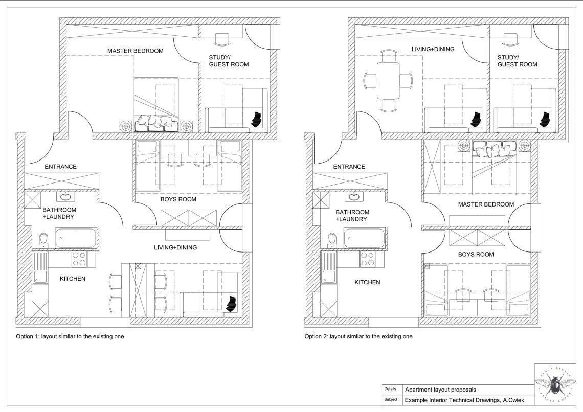 Interior technical drawings apartment1 layouts part1