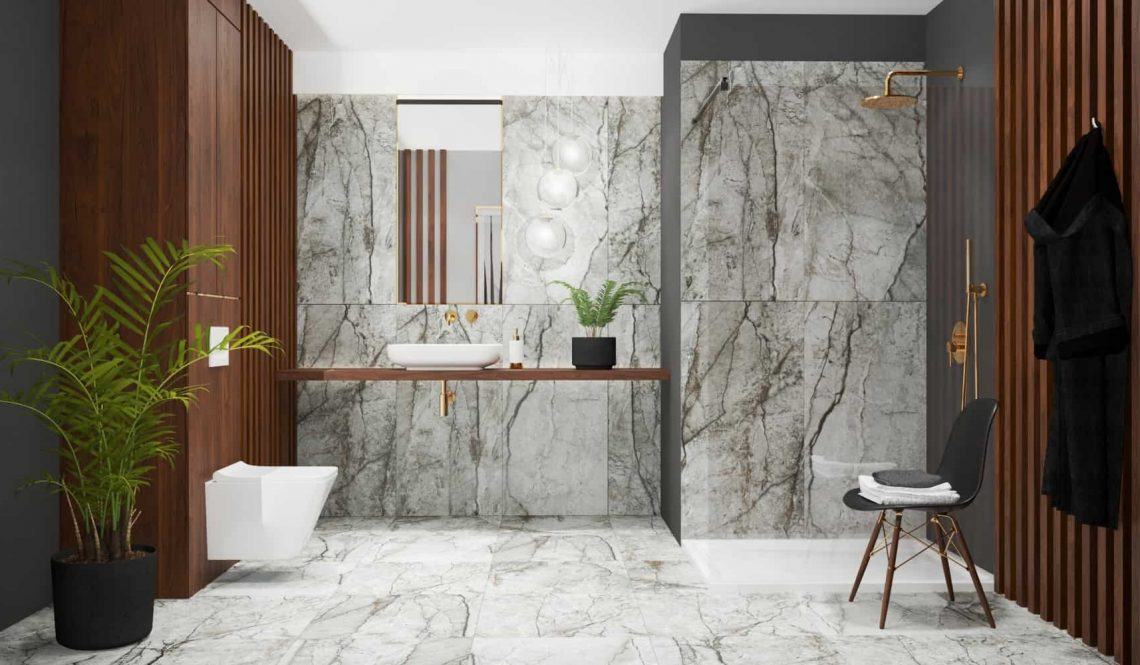 Marble bathroom design central view