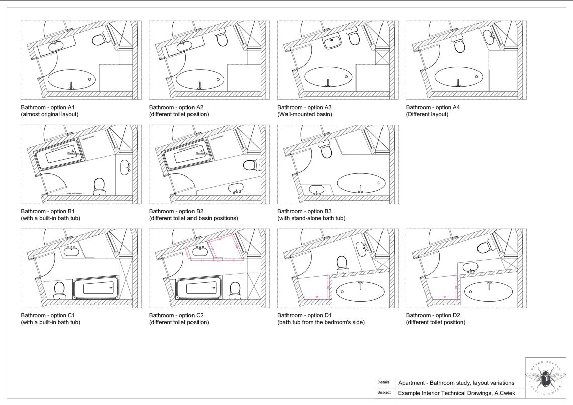Interior technical drawings apartment2 bathroom variations