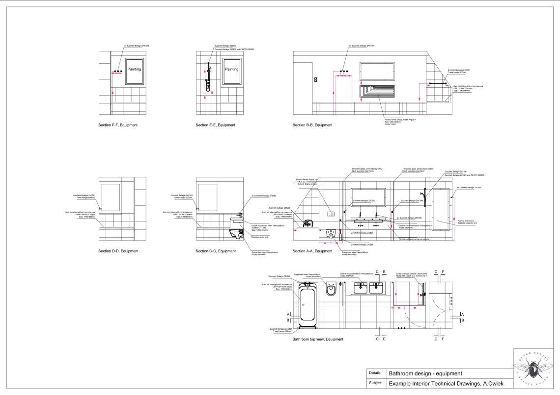 Interior technical drawings apartment3 bathroom equipment