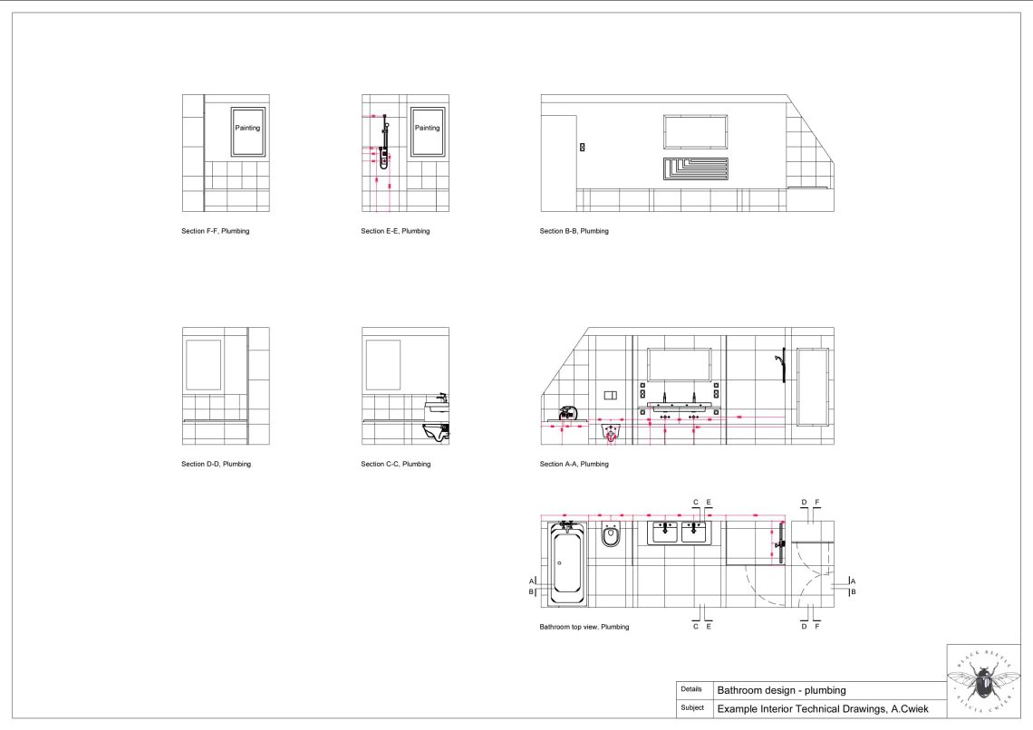 Interior technical drawings apartment3 bathroom plumbing