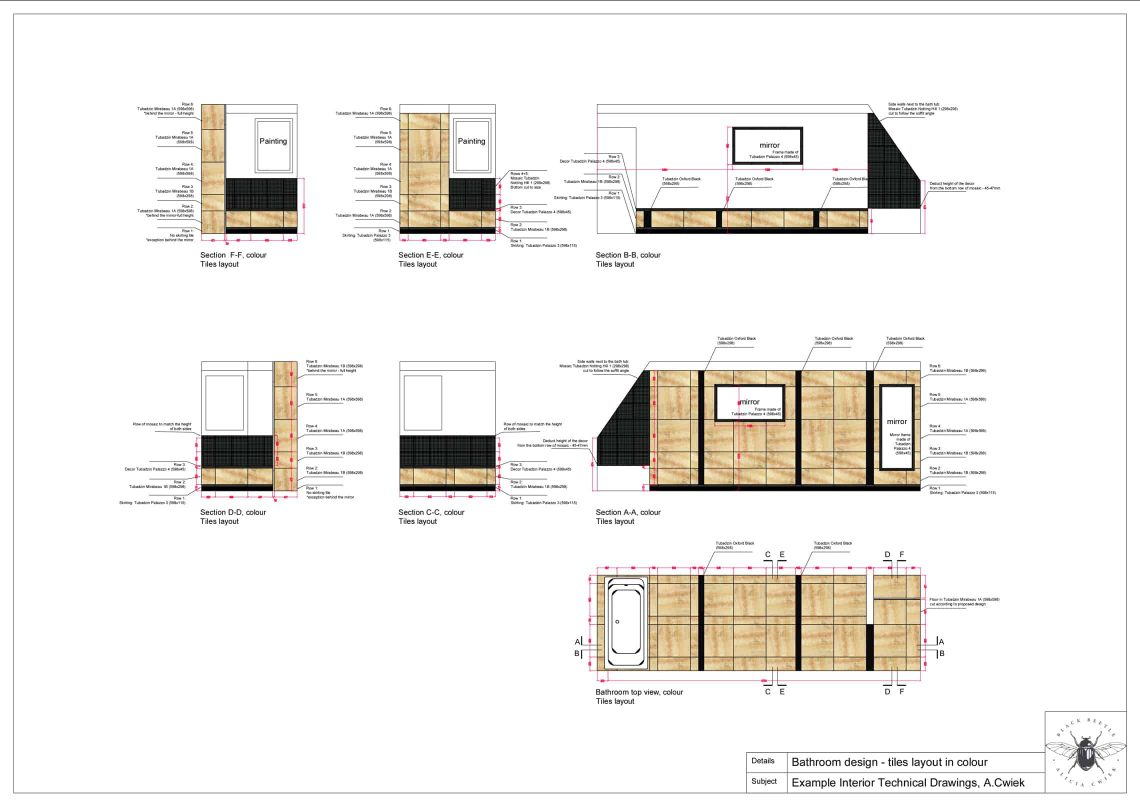Interior technical drawings apartment3 bathroom tiles layout colour